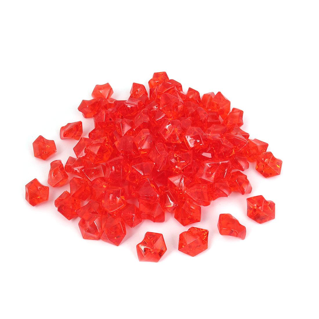 111 Pcs 2.5cm Length Red Plastic Atificial Polygon Decoration Aquarium Plastic Crystal Stones for Fish Tank Aquarium