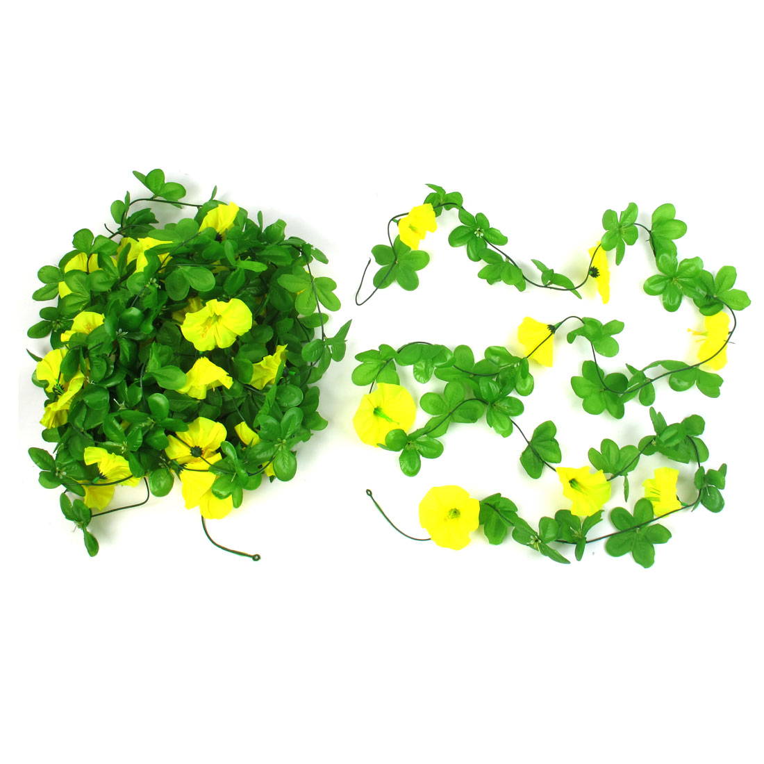 5 Pcs 2.4M Long Green Yellow Plastic Fabric Artificial Emulational Flower Hanging Vine