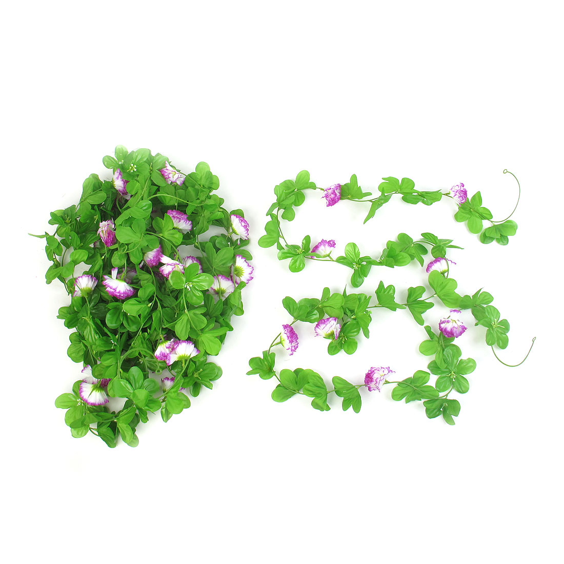 5 Pcs 2.4M Long Green White Purple Plastic Fabric Artificial Flower Hanging Vines for Home Party Decor
