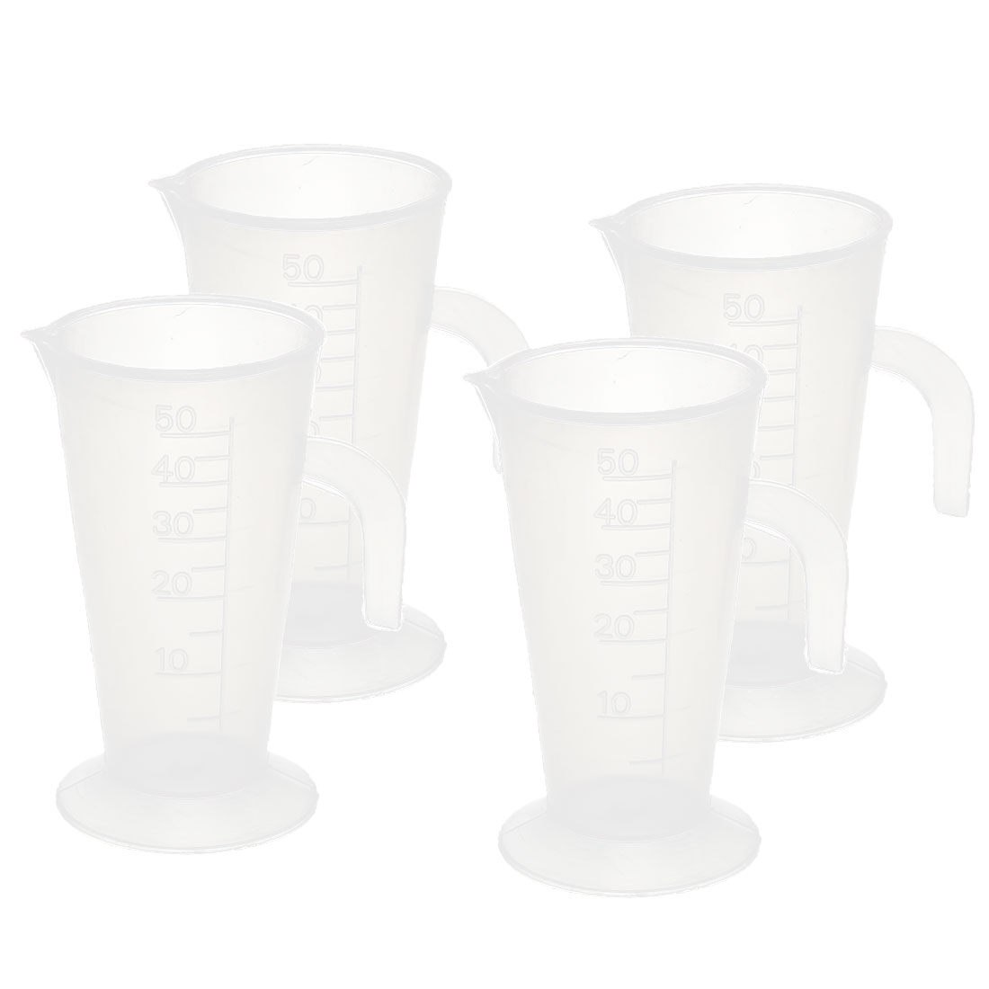 4Pcs 50ML Plastic Graduated Kitchen Laboratory Measuring Cup Mug Measurement Beaker w Handle
