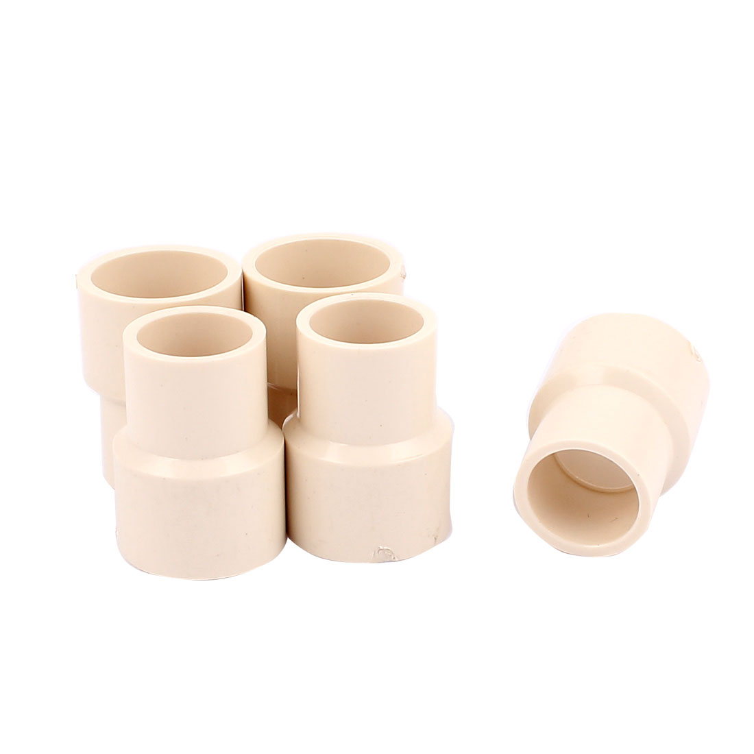 "5Pcs 25 x 20mm/0.98"" x 0.79"" Straight PVC Pipe Connectors Fittings White"