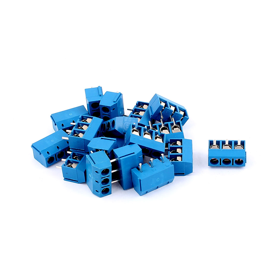 20Pcs 300V 16A 3 positions 1mm Pitch Pluggable Terminal Block Blue