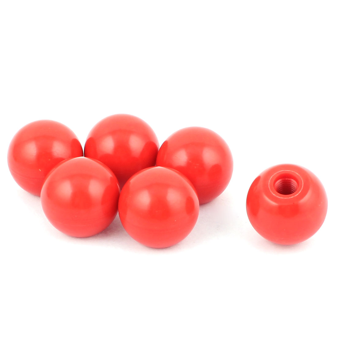 "6Pcs 8mm/0.3"" OD 35mm/1.4"" ID Duroplastic Solid Handling Ball Knob Red"