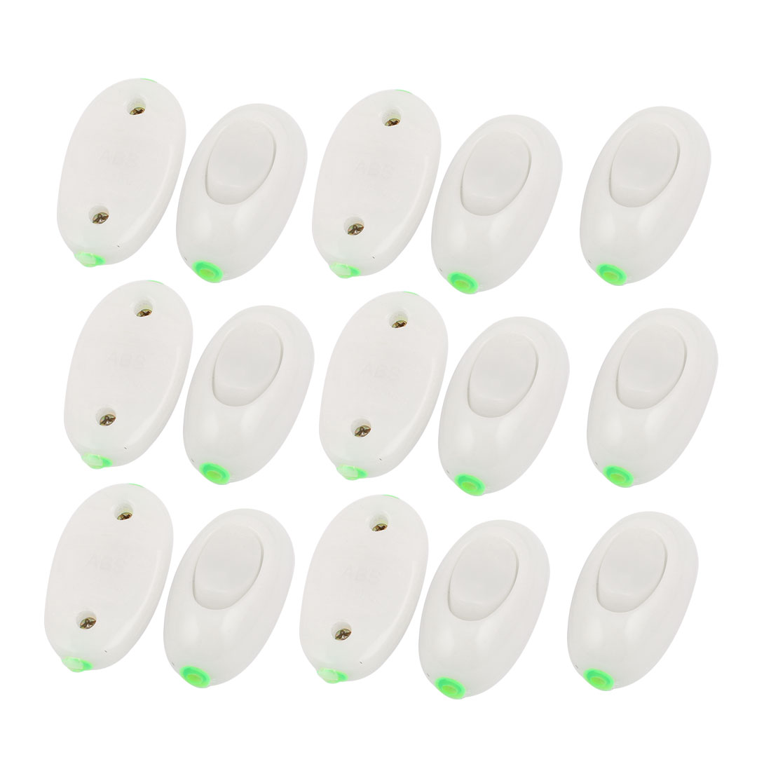 15Pcs AC 250V 3A ON/OFF Button Home Bedroom In Line Cord Lamp Light Switch White