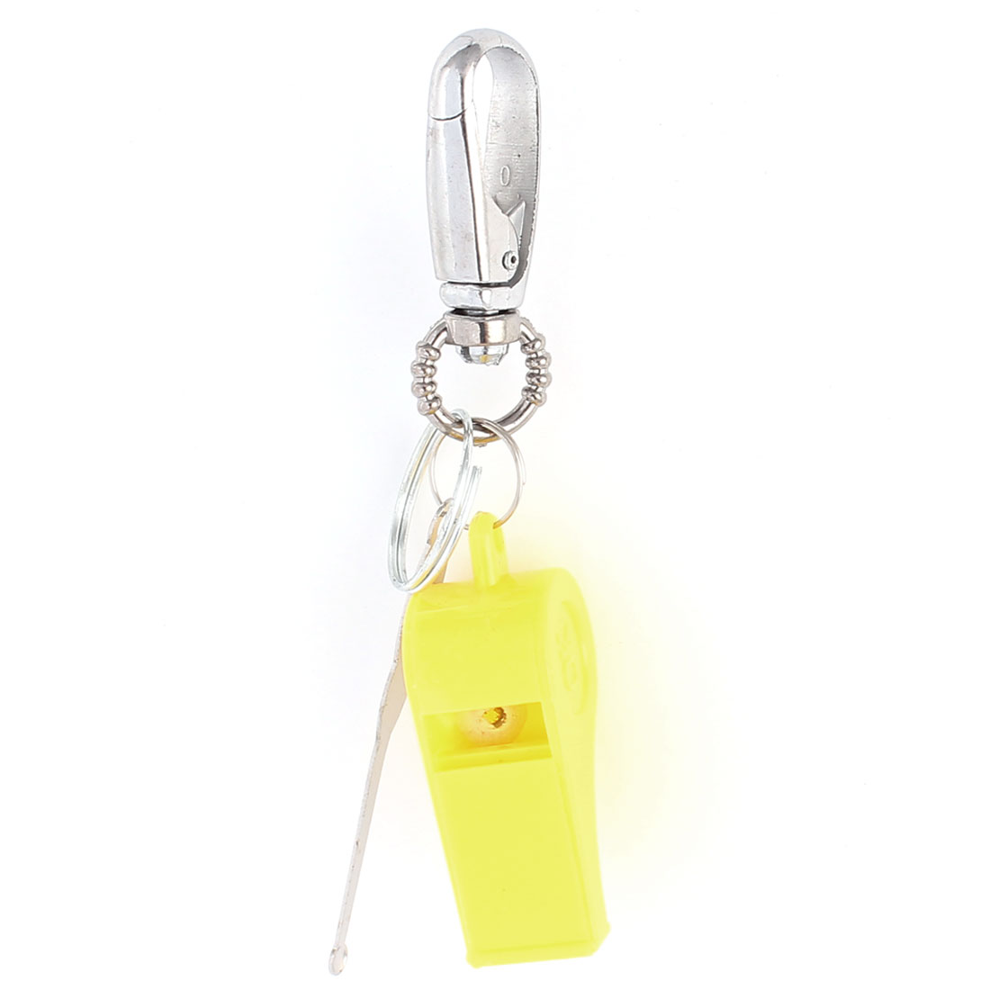 3Pcs Plastic Yellow Whistle Alloy Earpick Pendent Lobster Clasp Keychain Key Ring