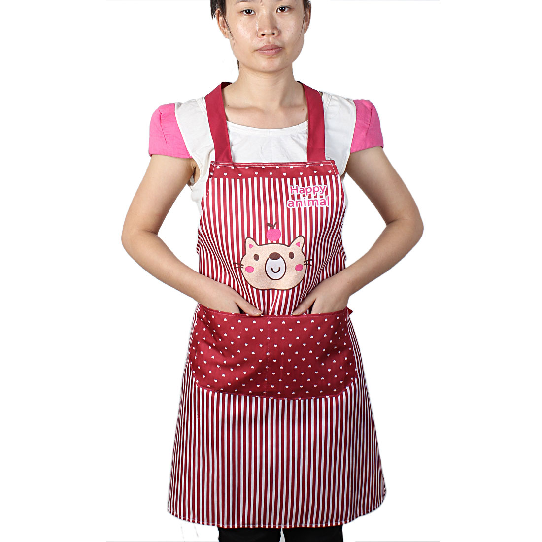 Women Kitchen Restaurant Cooking Pocket Aprons Burgundy