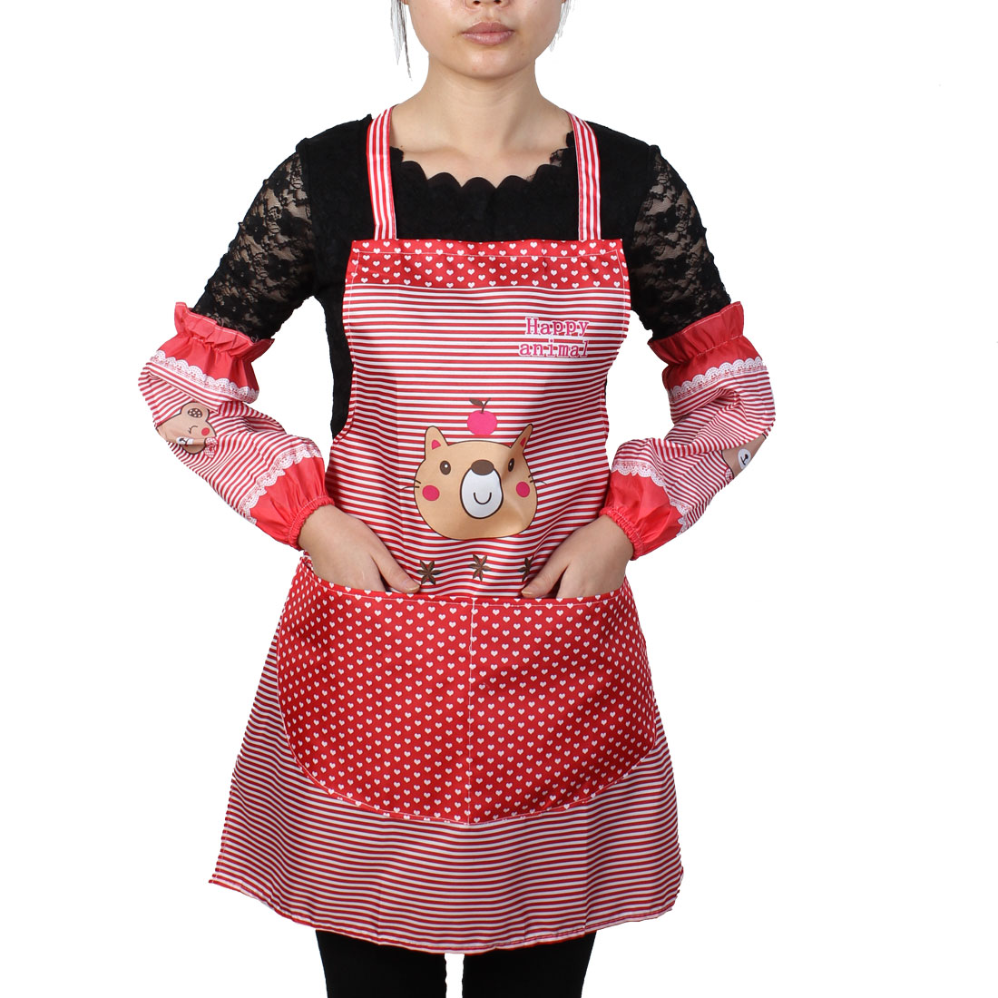 Women Kitchen Restaurant Cooking Aprons Pocket Gift Apron Red w Sleeves
