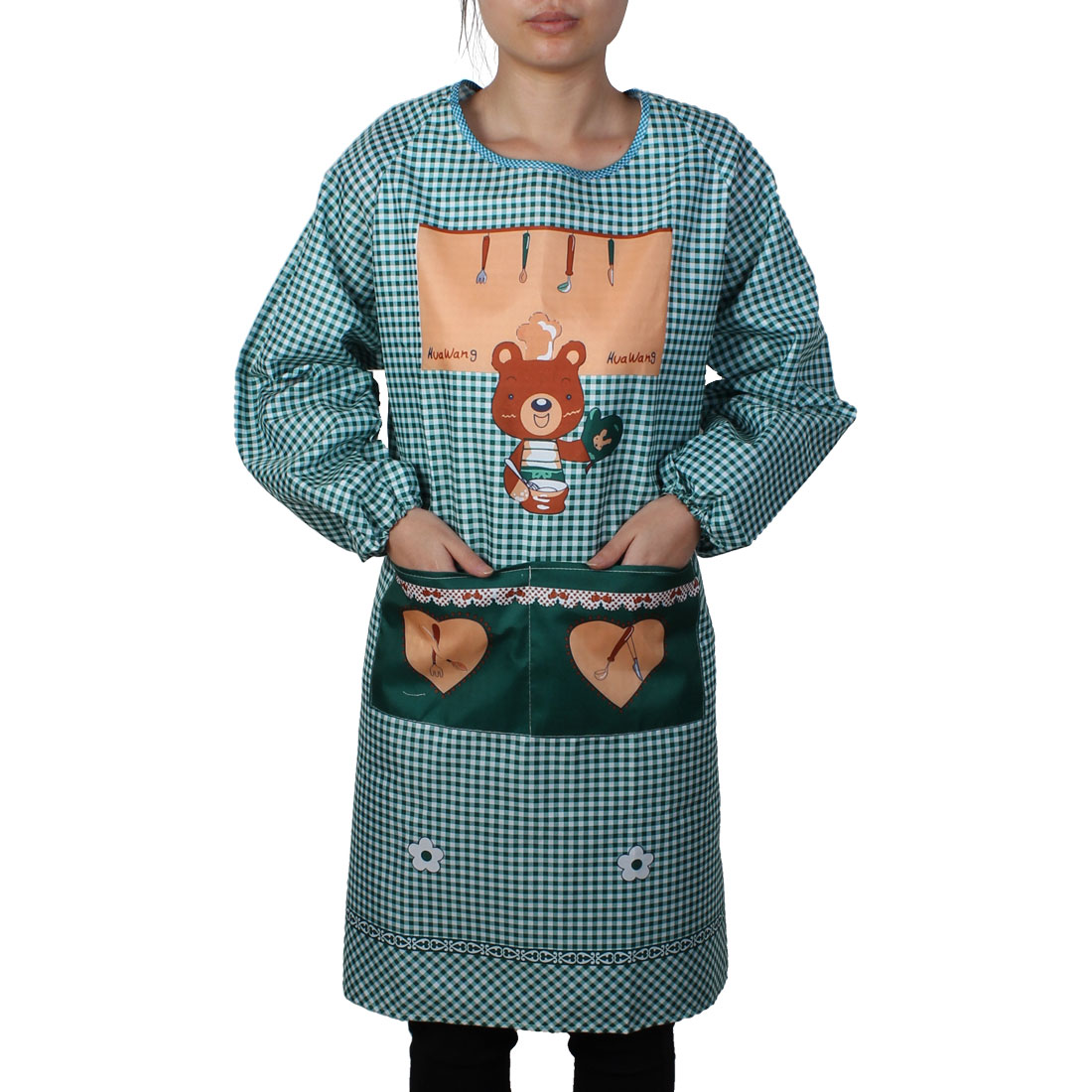Home Kitchen Dining Bar Bear Pattern Long Sleeve Apron Clothes Green