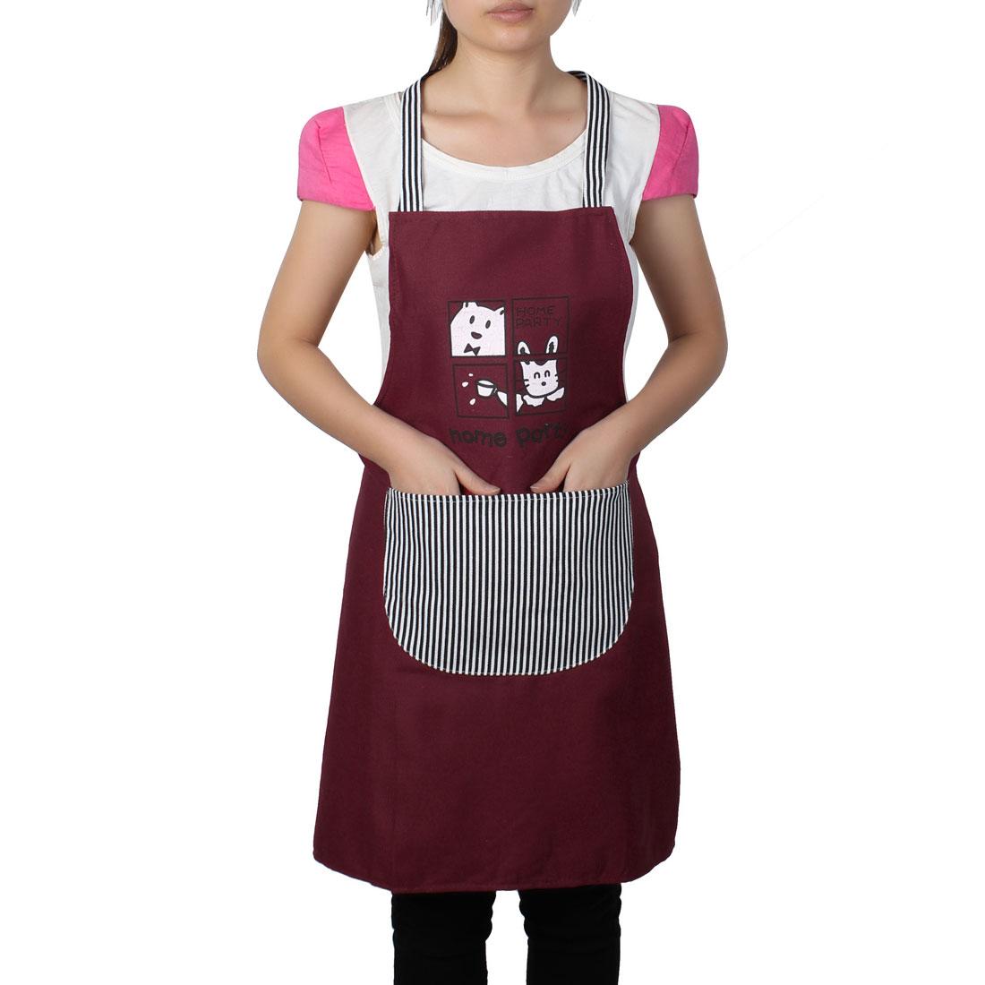Women Home Kitchen Restaurant Bib Cooking Pocket Aprons Burgundy