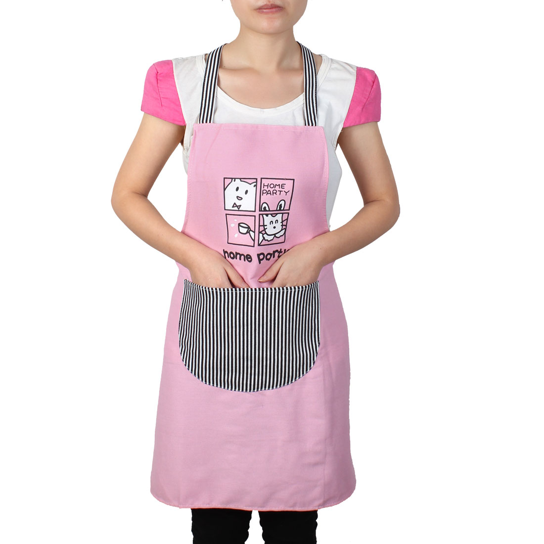 Women Home Kitchen Restaurant Bib Cooking Pocket Aprons Pink