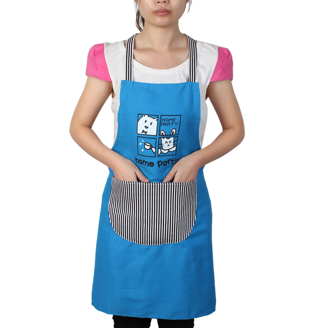 Women Home Kitchen Restaurant Bib Cooking Pocket Aprons Blue