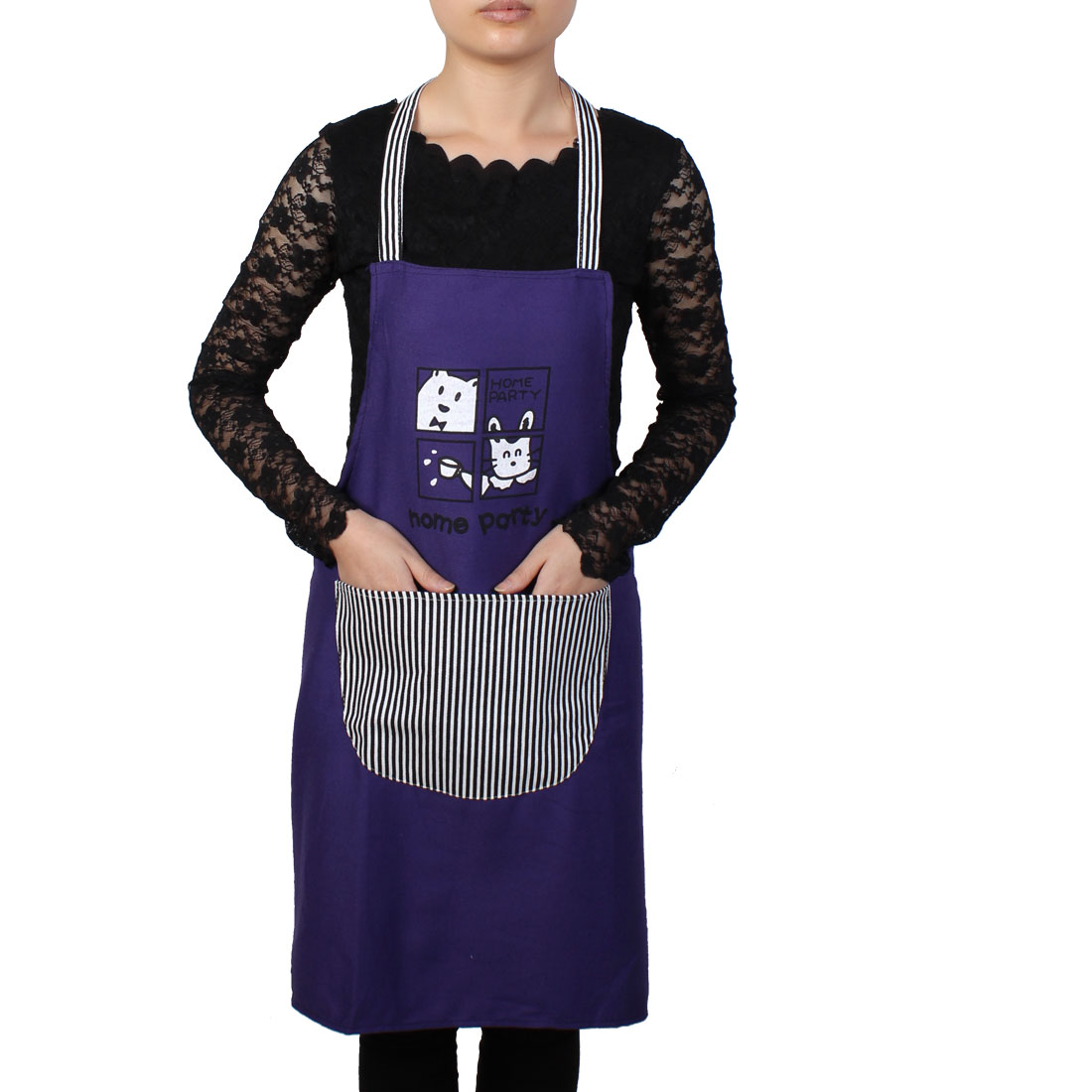 Women Home Kitchen Restaurant Bib Cooking Pocket Aprons Purple