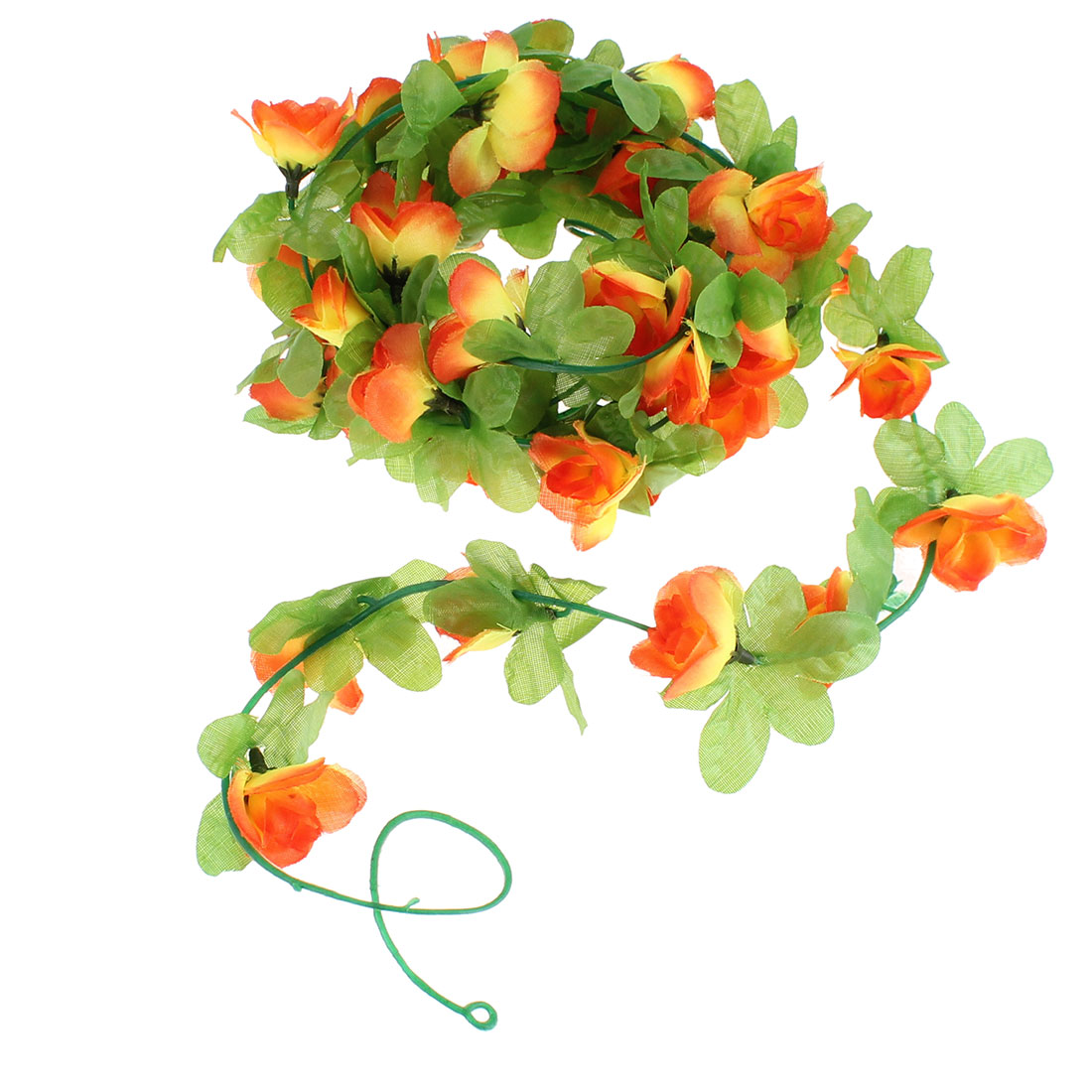 Artificial Fake Orange Rose Flower Ivy Vine Hanging Garland Wedding Decor