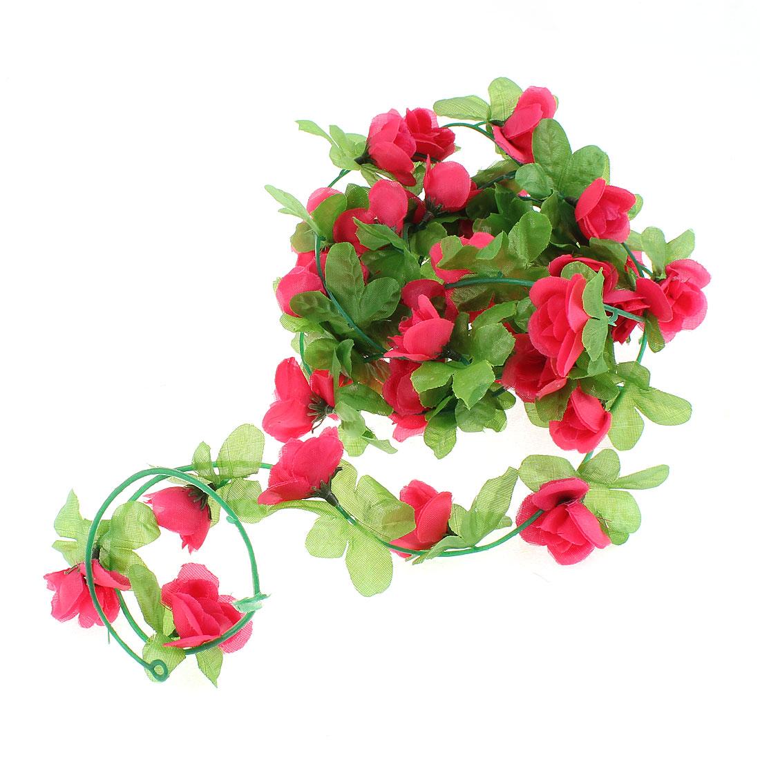Artificial Fake Fuschia Rose Flower Ivy Vine Hanging Garland Wedding Decor