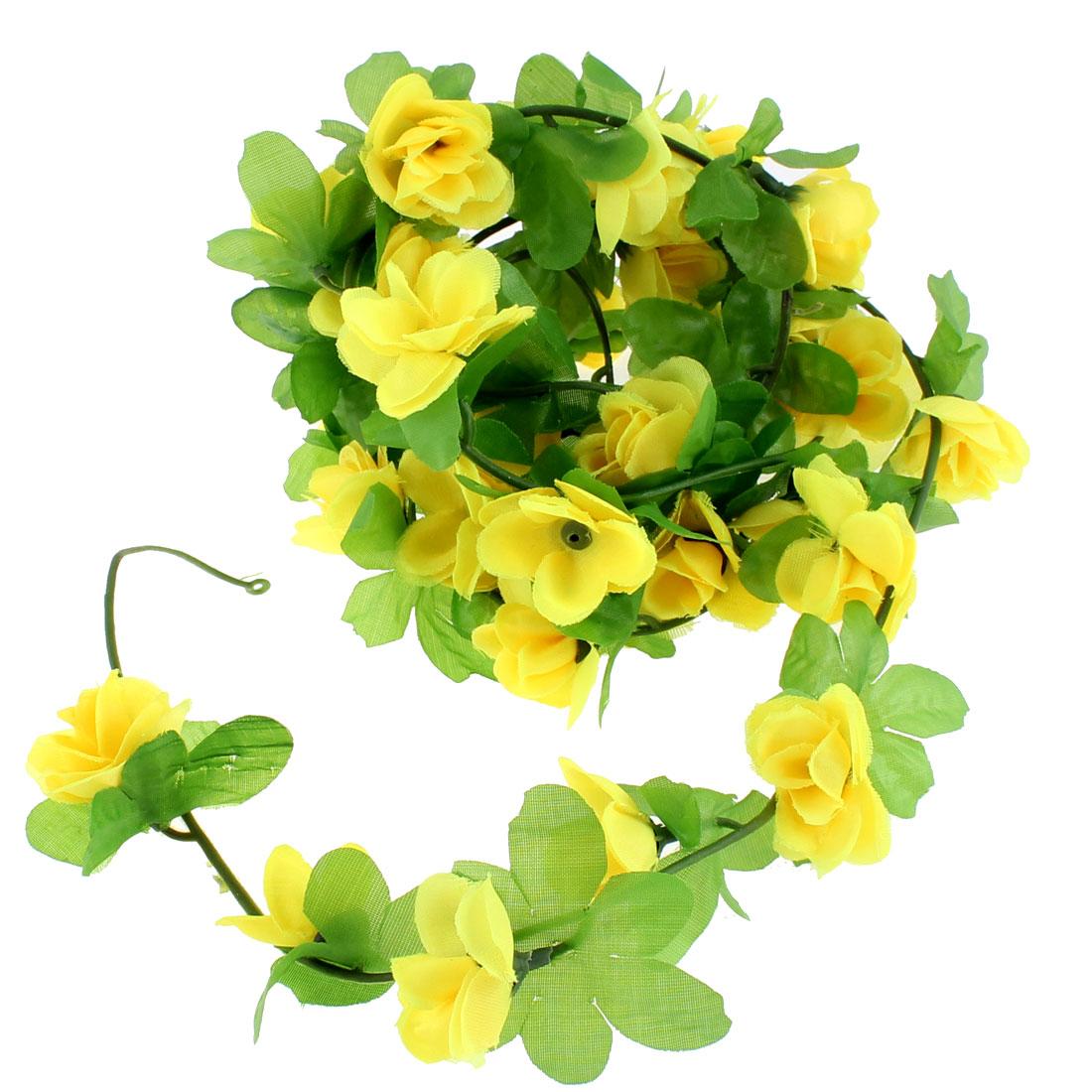 Artificial Fake Yellow Rose Flower Ivy Vine Hanging Garland Wedding Decor