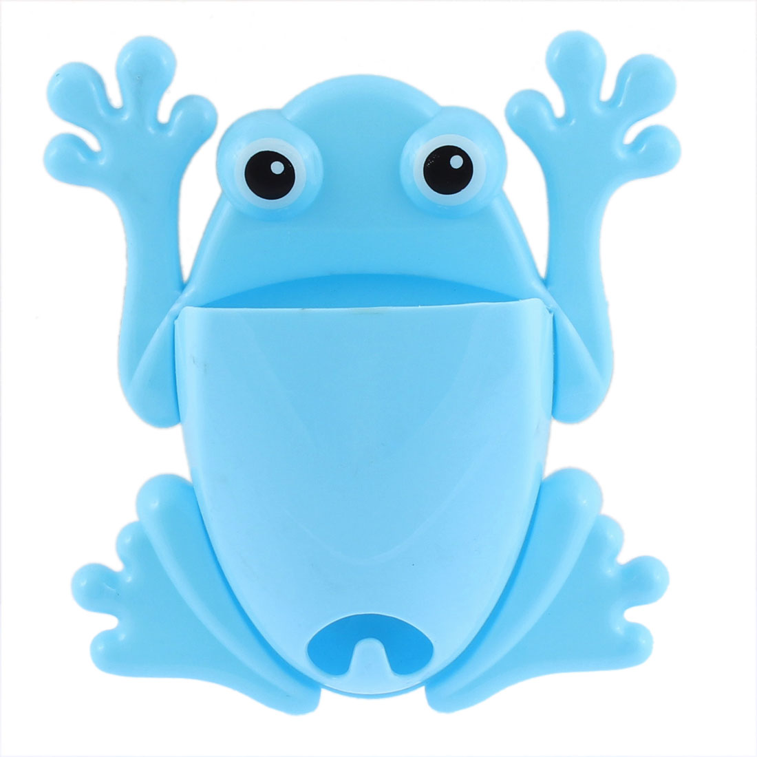 Home Bathroom Frog Design Wall Stick Toothbrush Holder Organizer Blue