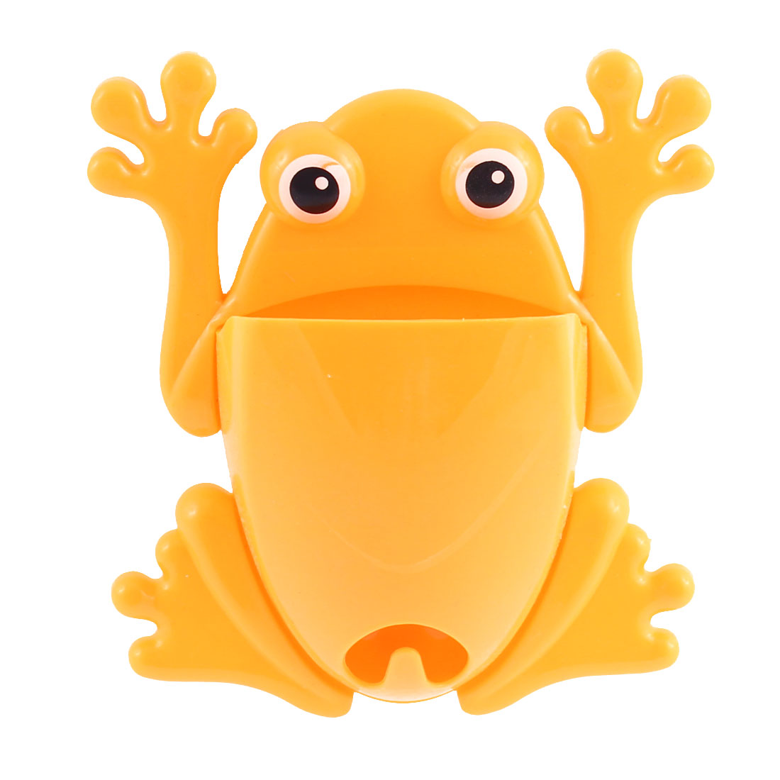 Home Bathroom Frog Design Wall Stick Toothbrush Holder Organizer Yellow