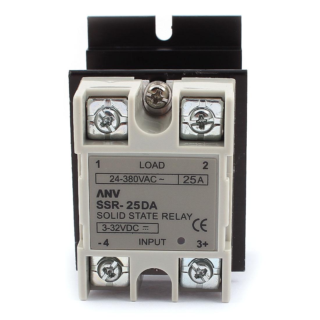 SSR-25DA DC-AC 25A Solid State Relay 3-32VDC/24-380VAC + Heat Sink