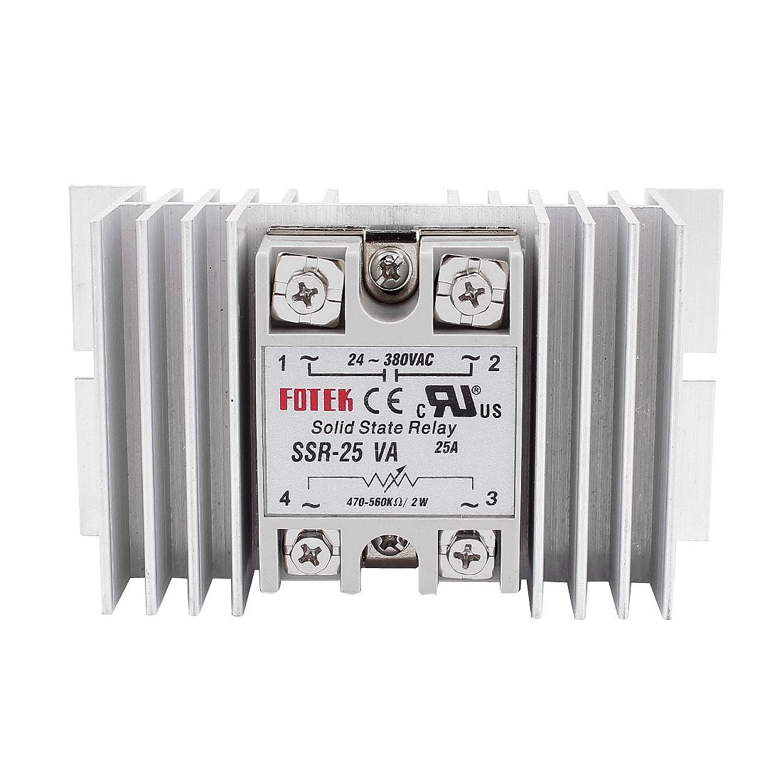 SSR-25VA 25A Input 470-560kohm Output 24-380V AC Soild State Relay Proportional Controllers + Heat Sink