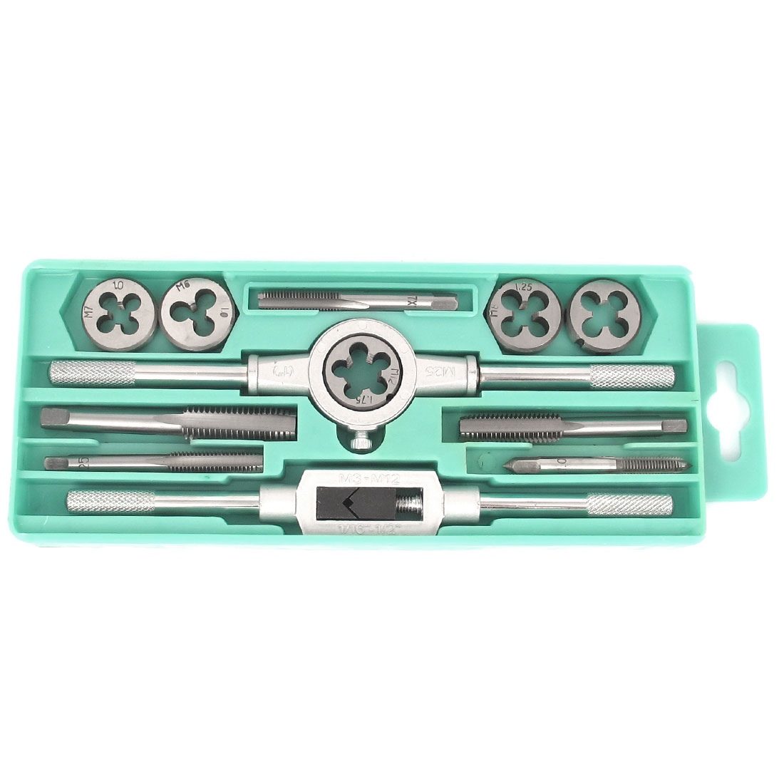 12 Pcs Steel Assorted Set Screw Extractor Tap Die Adjustable Tap Wrench