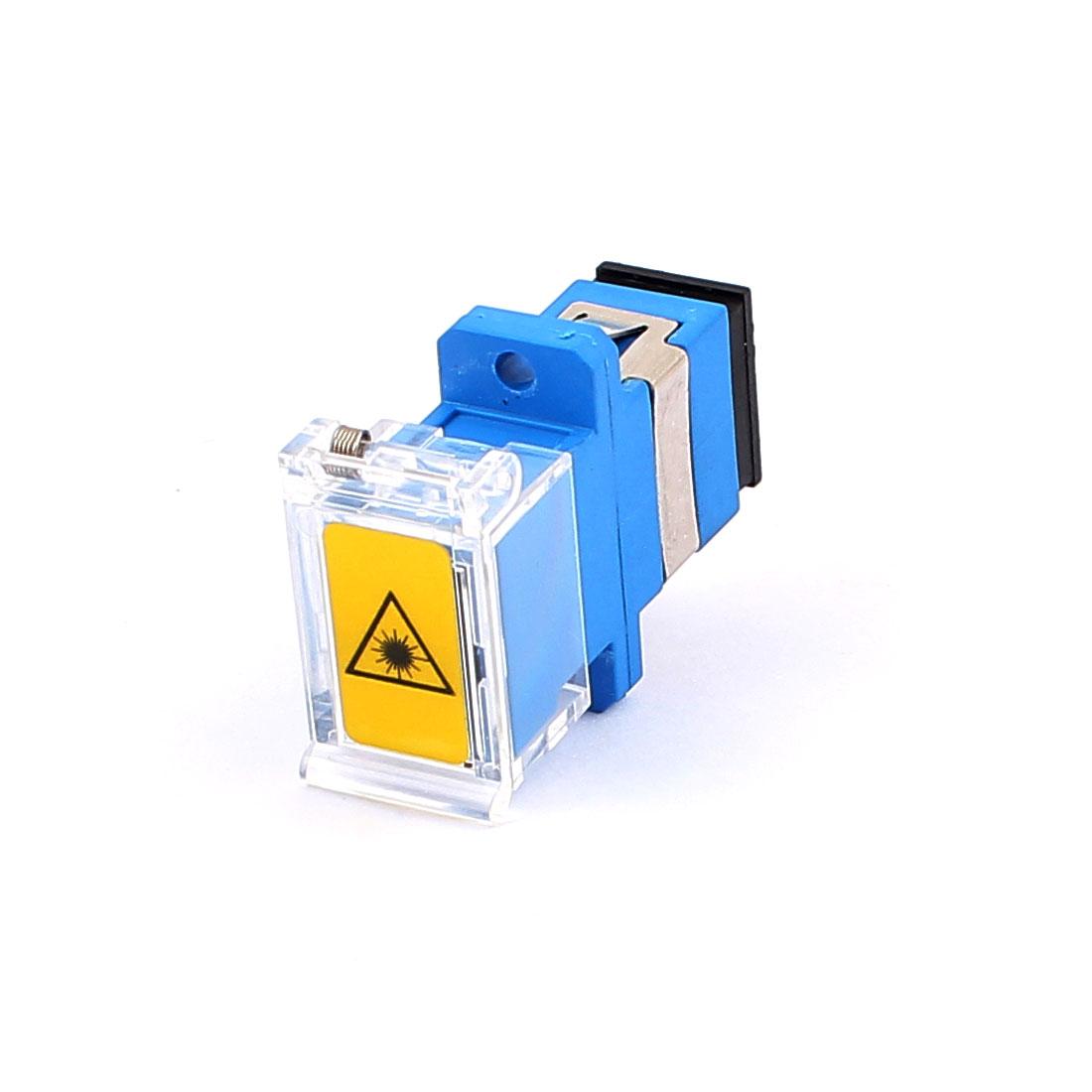 SM SC/APC Simplex Fibre Coupling Flange Optical Fiber Adapter w Anti-dust Cap Blue