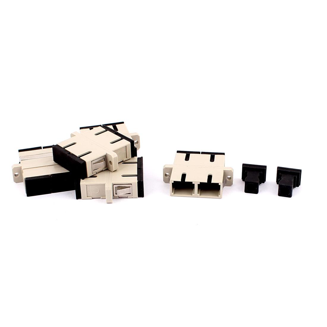 5 Pcs MM SC-SC UPC Duplex Fibre Couplers Flange Adapters Optical Fiber Connectors Gray