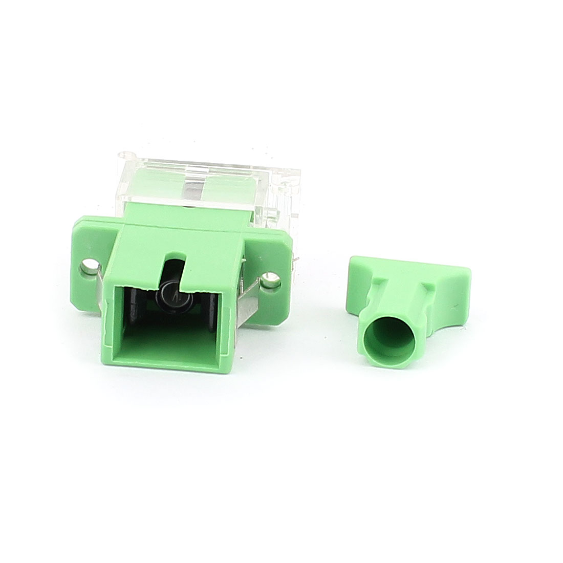 SM SC/APC Simplex Fibre Coupling Flange Optical Fiber Adapter w Anti-dust Cap Green