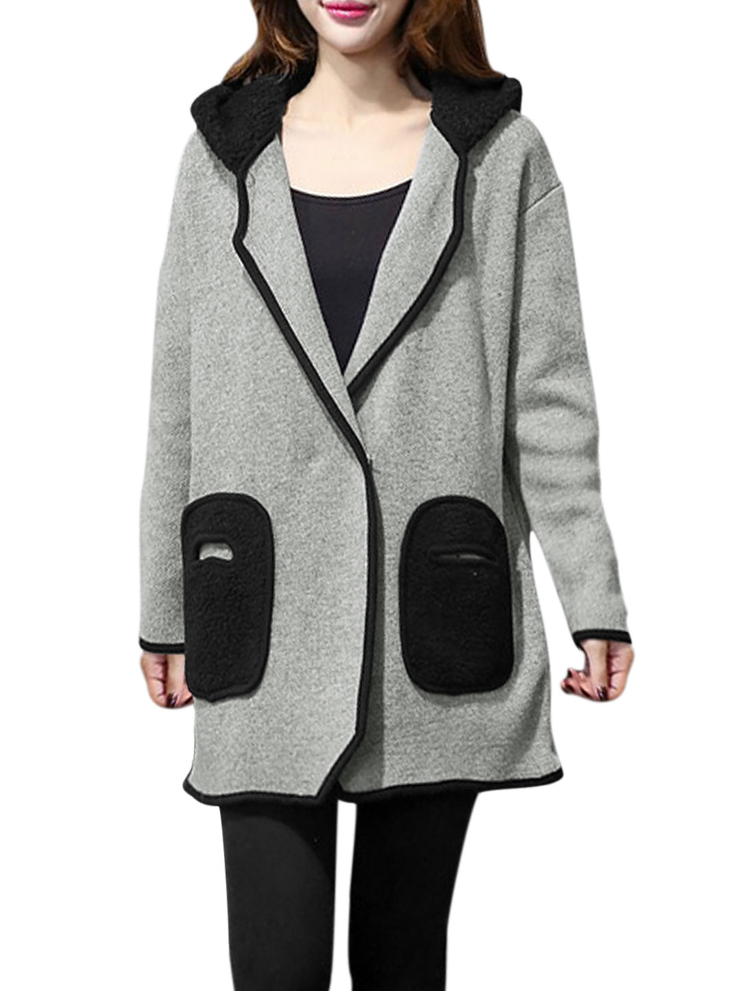 Women Plush Hooded Long Sleeves Contrast Color Loose Knit Coat Gray L