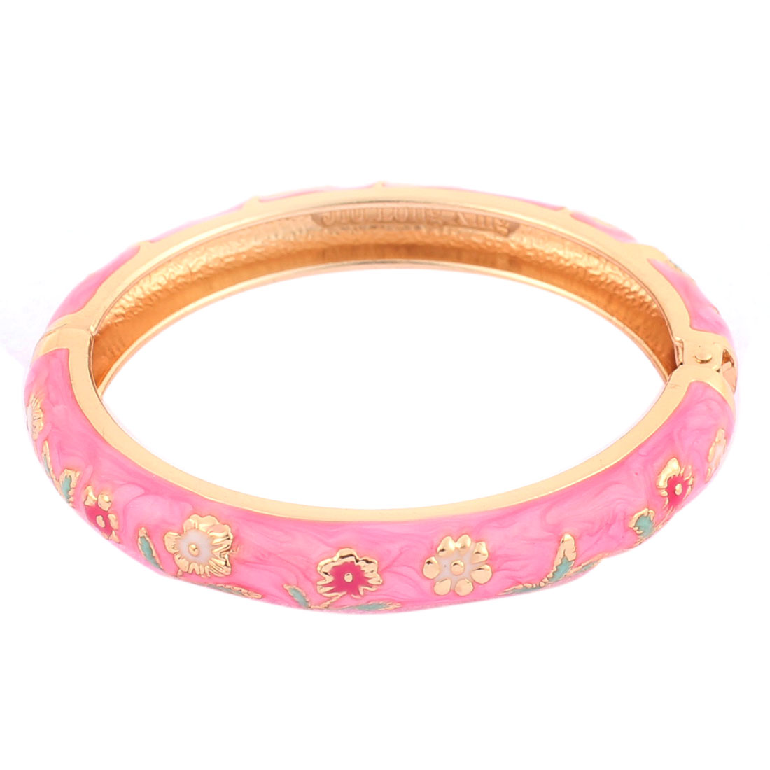 Girl Spring Closure Flowers Enamel Round Wrist Bracelet Bangle Pink