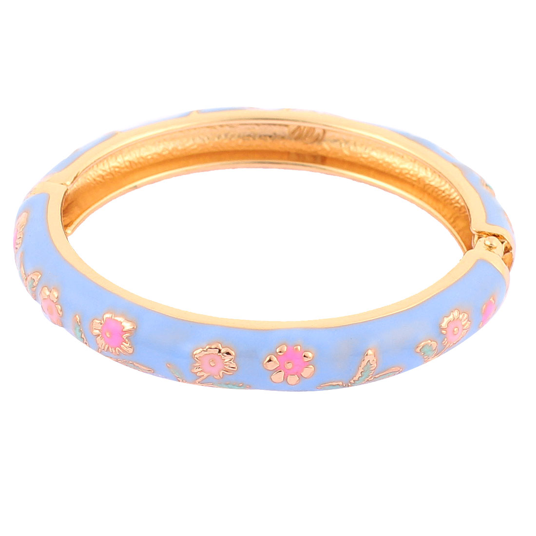 Girls Spring Closure Flower Ornament Round Wrist Bracelet Bangle Blue
