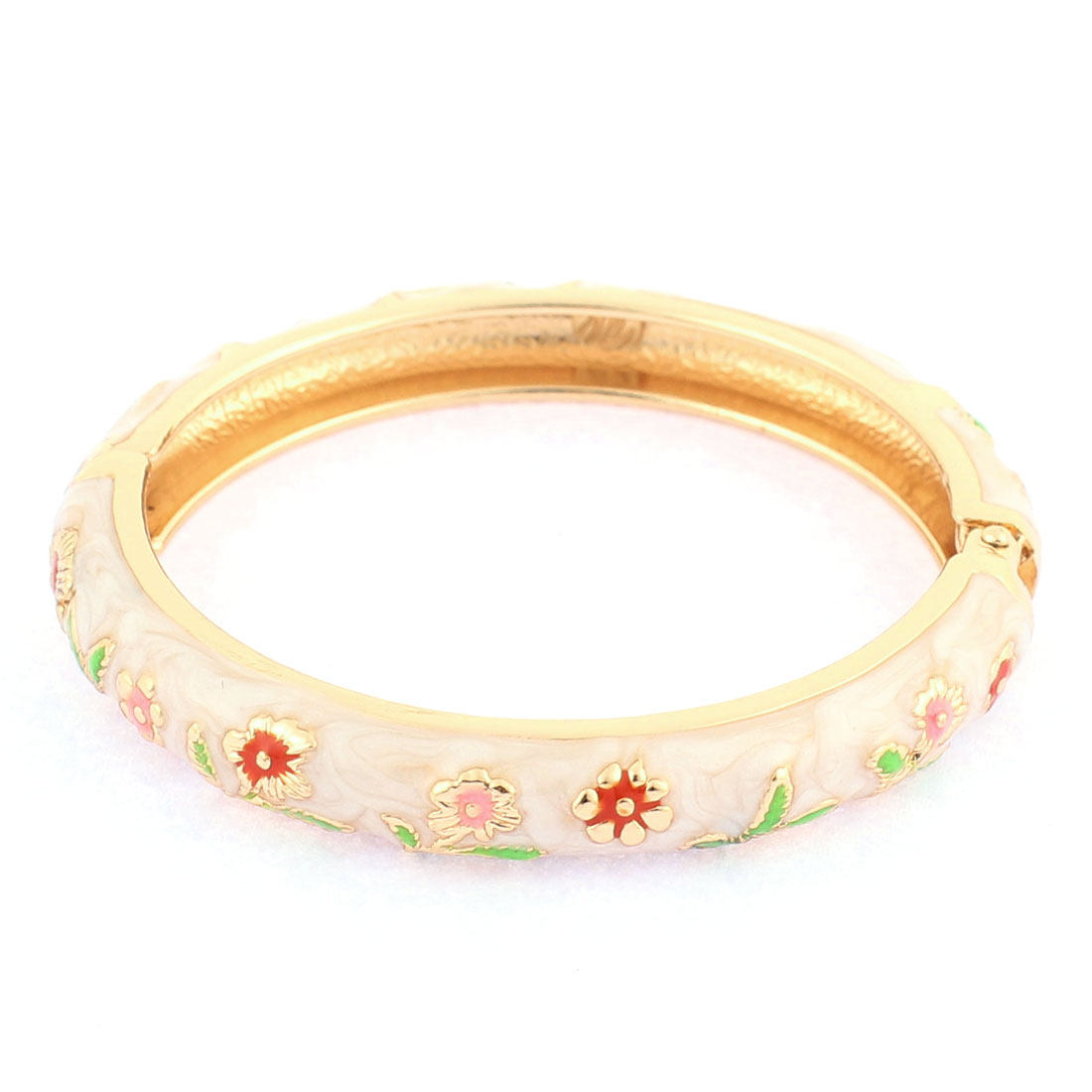 Girls Wear Mini Flower Ornament Spring Closure Round Cuff Bangle Beige