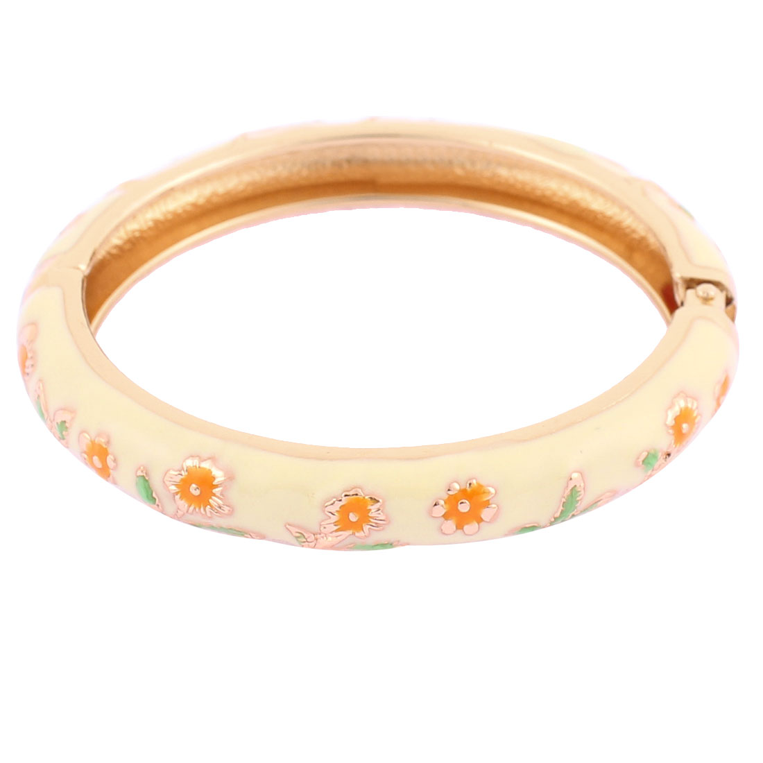 Girls Spring Closure Flower Decor Round Wrist Ornament Bracelet Bangle