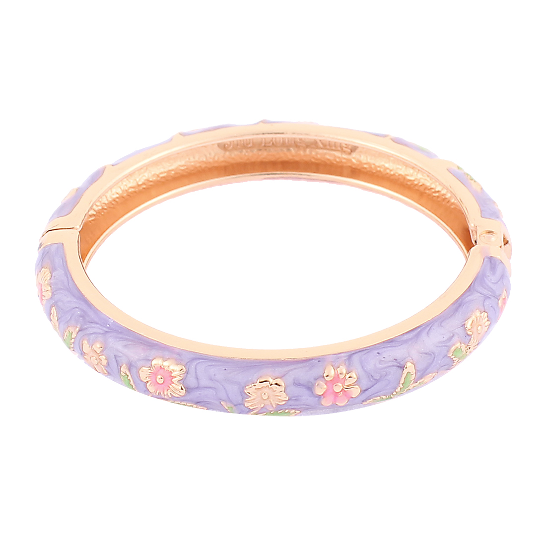 Girl Flowers Enamel Round Spring Closure Wrist Bracelet Bangle Purple