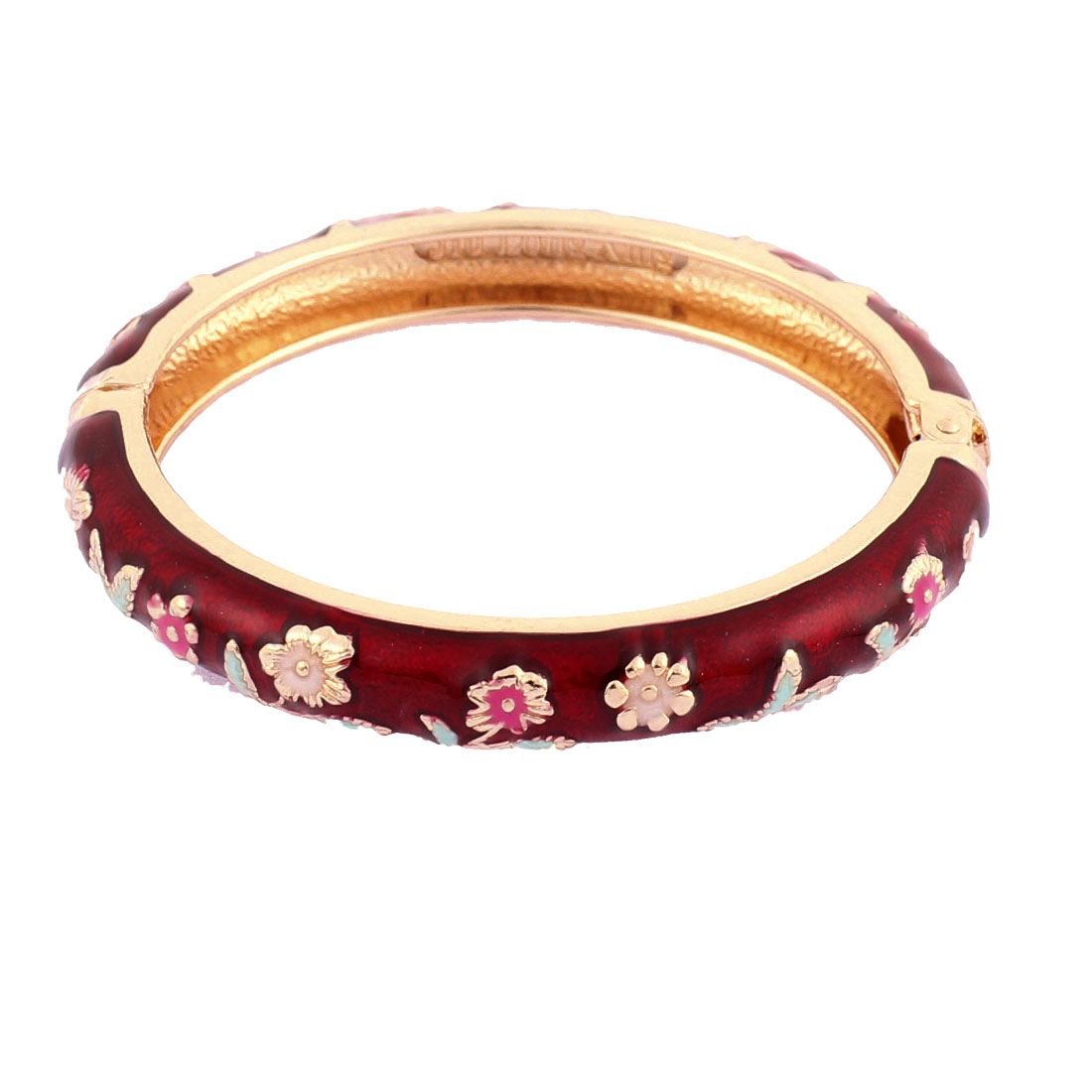 Girls Spring Closure Floral Enamel Round Bracelet Bangle Wrist Decoration Burgundy