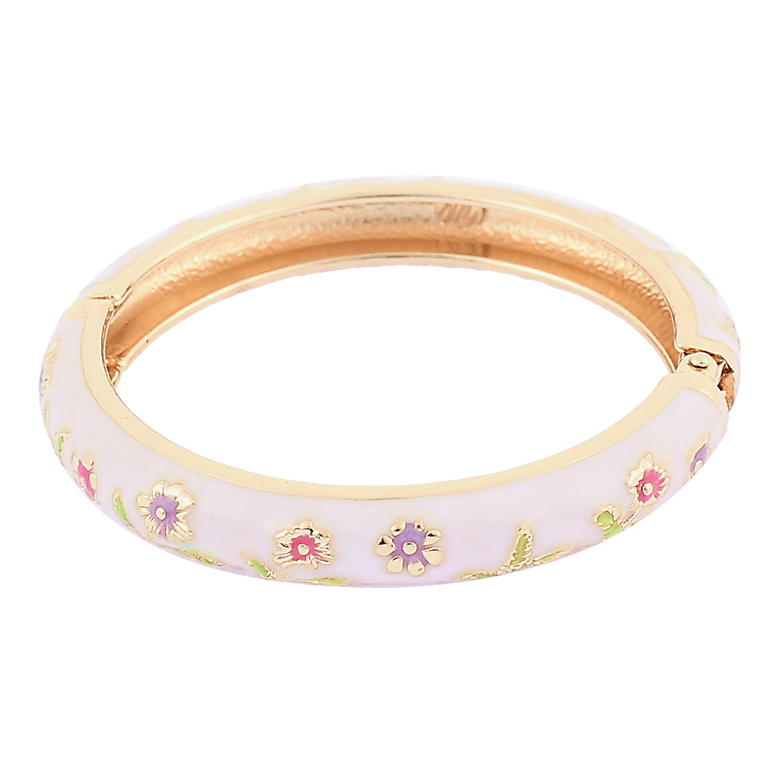 Girl Metal Spring Closure Flower Enamel Round Bracelet Bangle White