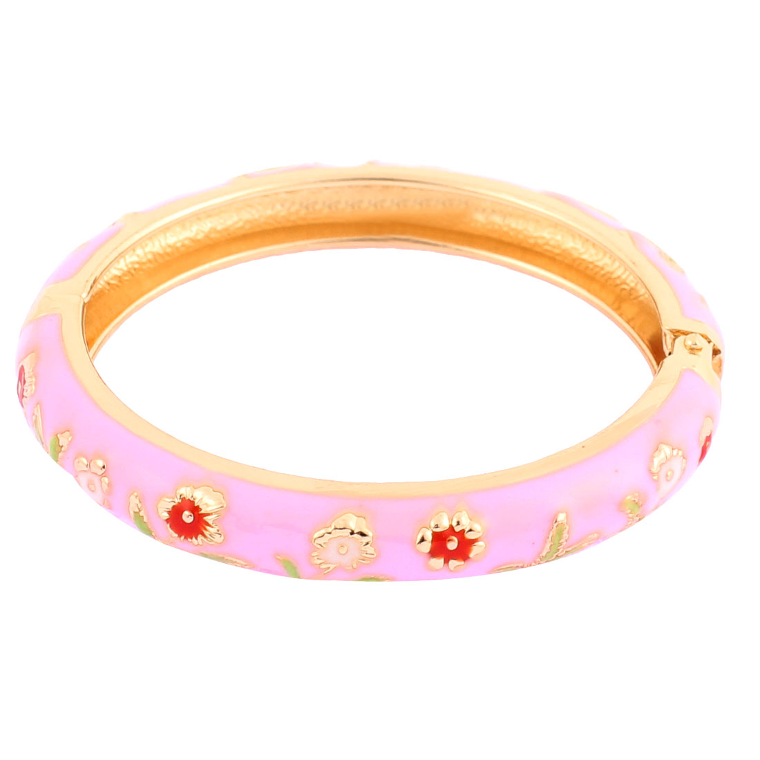 Girl Metal Spring Closure Flower Decor Round Bracelet Bangle Light Pink