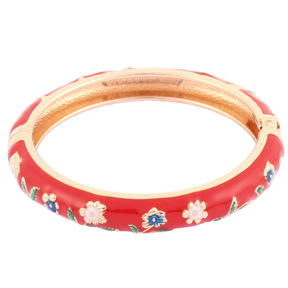 Girl Spring Closure Flowers Enamel Round Wrist Bracelet Bangle Red