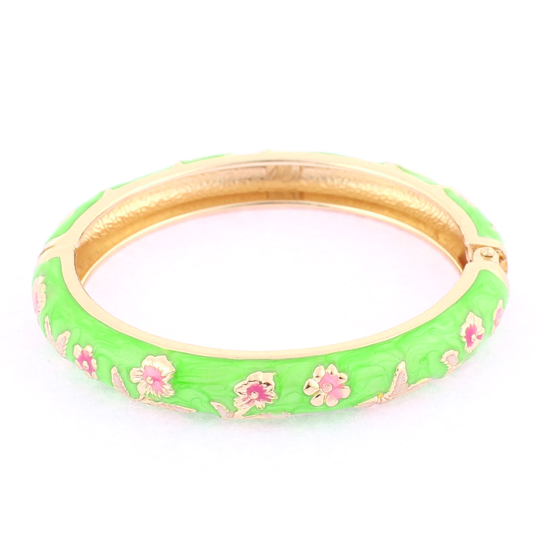 Round Floral Enamel Girls Spring Closure Bracelet Bangle Wrist Decoration Green
