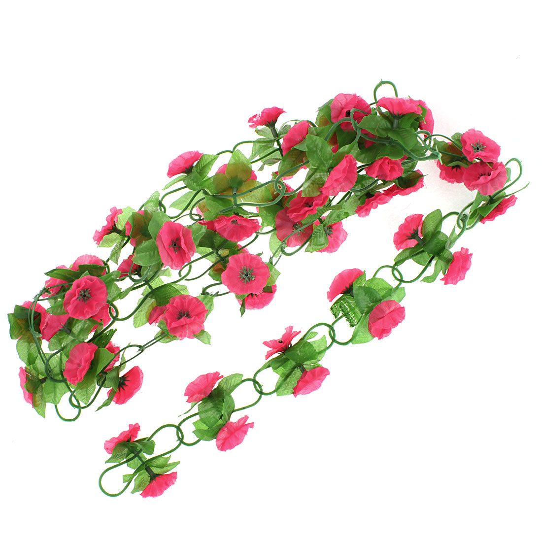 Party Decor Green Leaves Red Plastic Flower Simulated Hanging Vine Plant