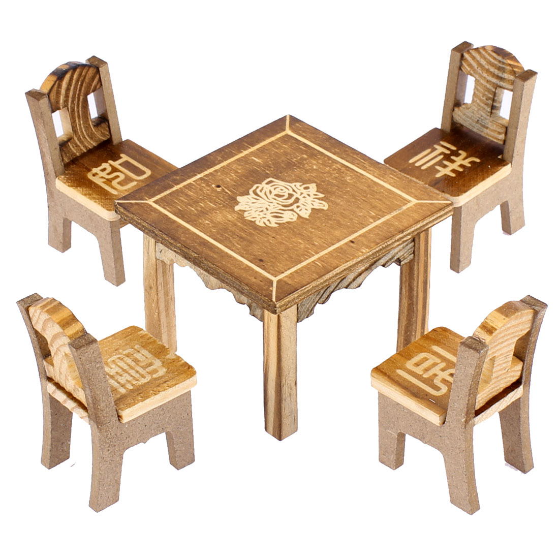 Home Office Wooden Desktop Decoration Flower Printed Craft Table Chair Set