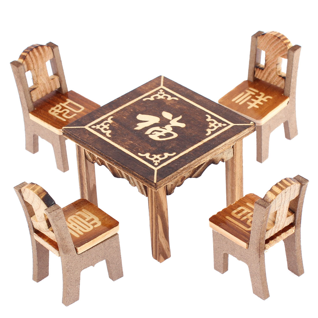 Home Office Desktop Decoration Bless Word Printed Wooden Craft Table Chair Set