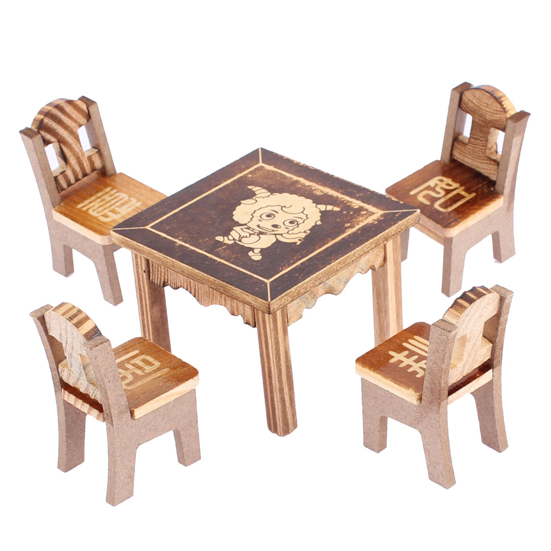 Home Office Wooden Desktop Decoration Cartoon Sheep Printed Craft Table Chair Set