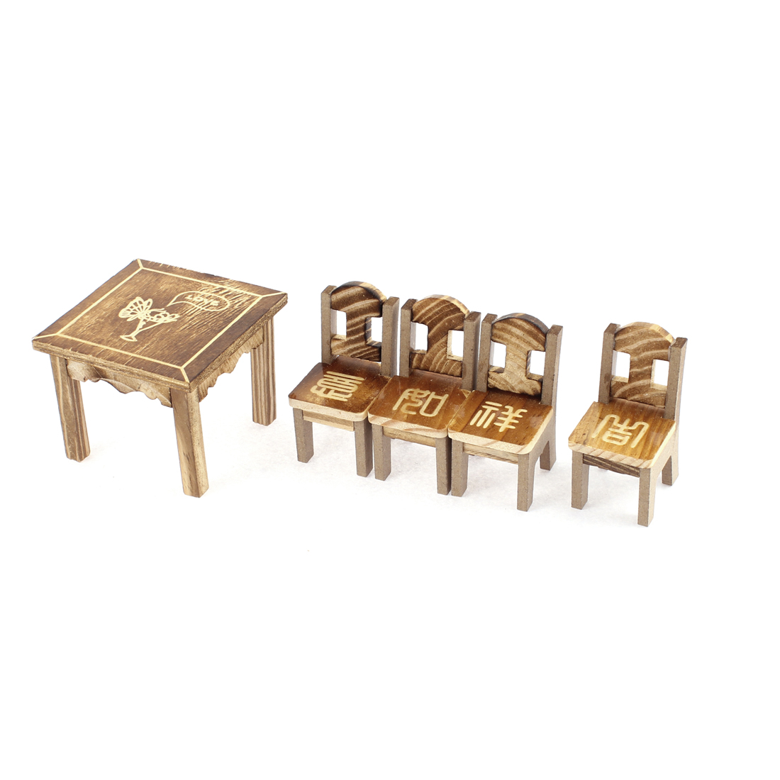 Home Office Wooden Desktop Decoration Vase Printed Craft Table Chair Set