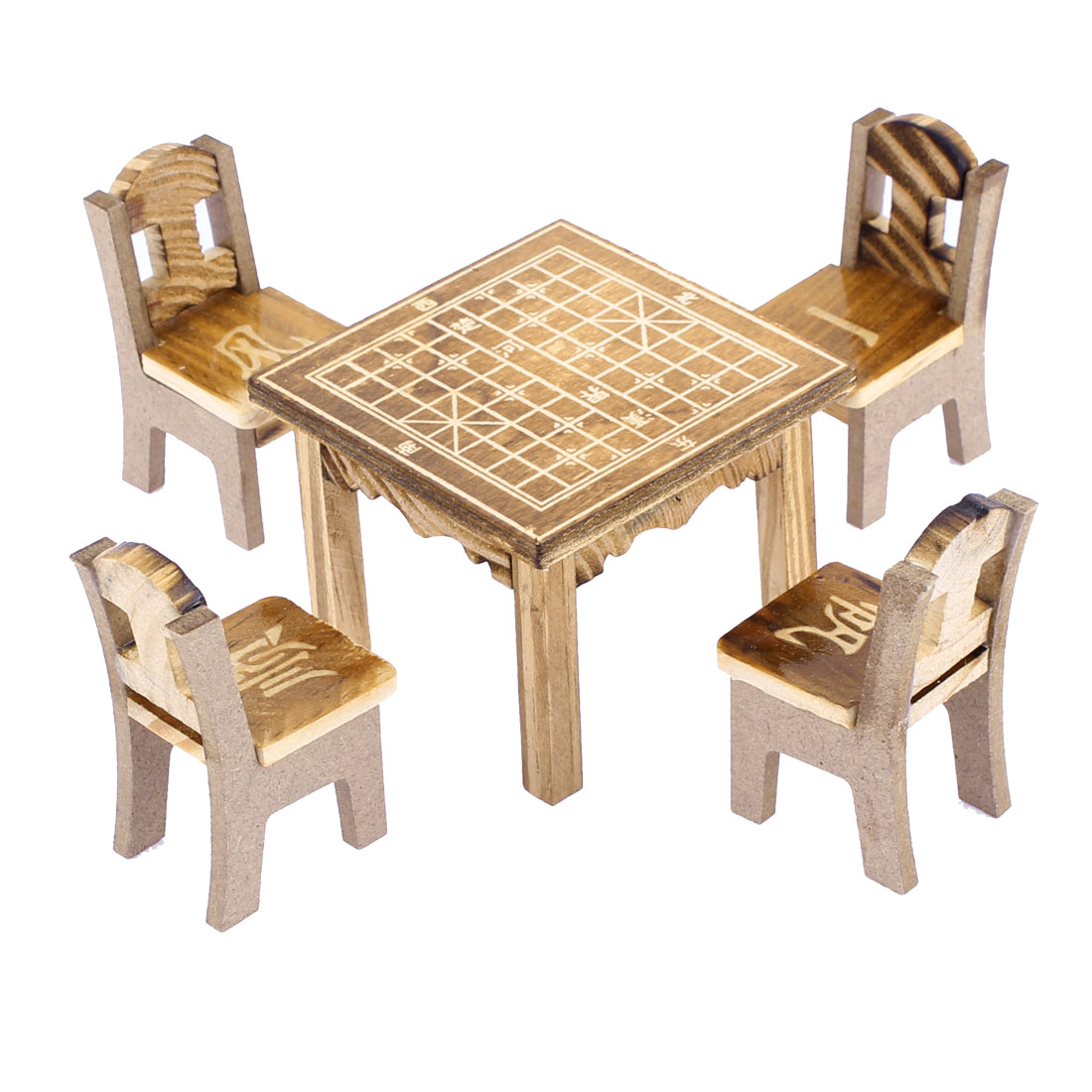 Home Office Wooden Desktop Decoration Chinese Chess Printed Craft Table Chair Set