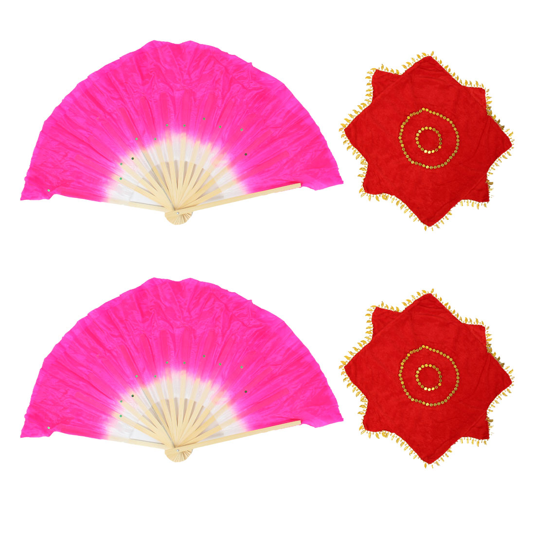 2 Pcs Shiny Sequins Decoration Dancing Bamboo Fans w Dance Handkerchieves 2pcs