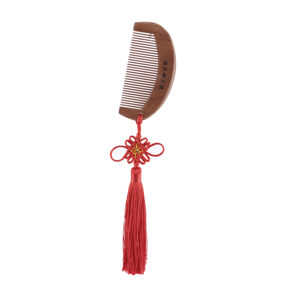 Travel Portable Wooden Chinese Knot Tassel Pendant Dangling Decoration Healthy Hair Comb