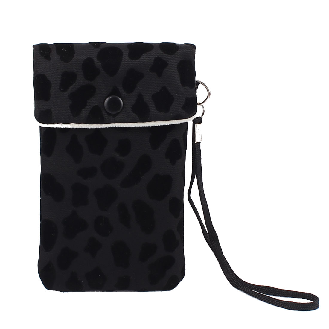 Outdoor Leaopard Prints Nylon Cell Phone Pouch Bag Mobile Case Black