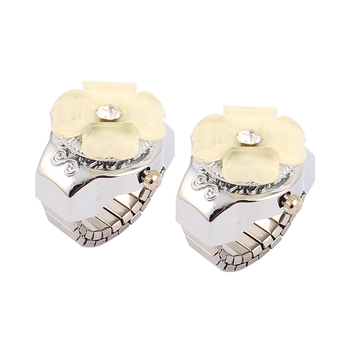Lady Women Flower Decor Elastic Quartz Finger Ring Watch Gift 2pcs