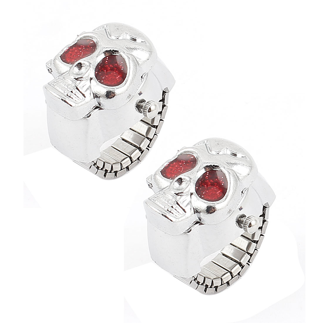 Skull Cover Metal Finger Ring Pocket Watch Red Silver Tone 2pcs