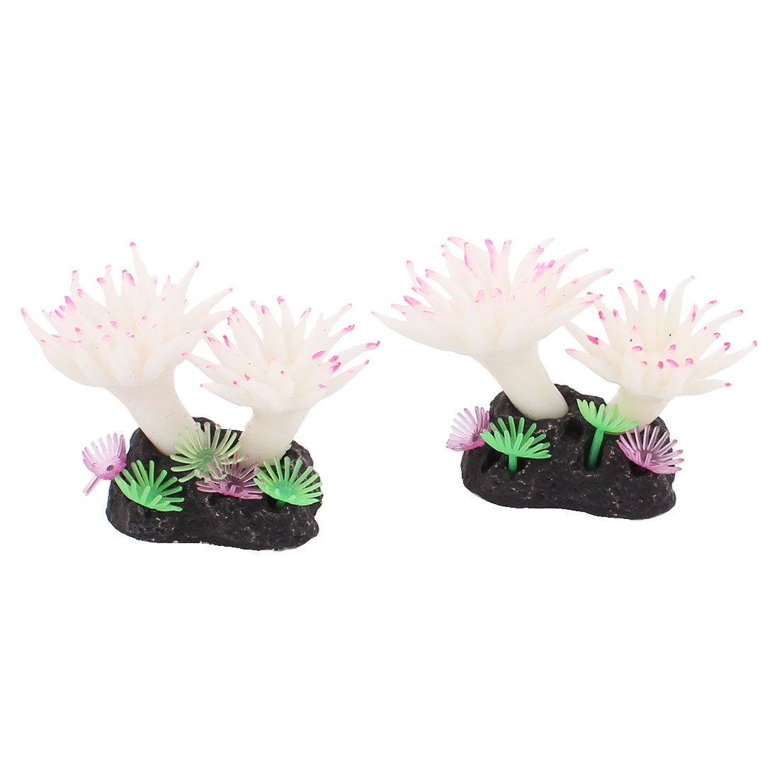 Aquarium Soft Silicone Artificial Sea Coral Ornament White 2pcs